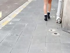 Very short dress and stockings in street