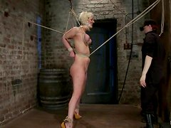 Luscious Cherry Torn is being suspended and bondaged