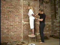 Stunning Adrianna Nicole gets suspended and watered