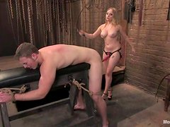 Kinky Aiden Starr tortures a guy and rides his dick