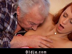 Old guy  casting  with Erika Fontes's wet pussy