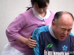 Public Sex with Kinky Japanese Nurse and an Old Fart in Wheelchair