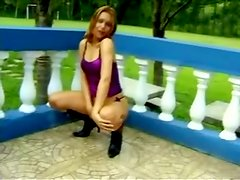 Brazilian Ladyboy Alexia Freire Plays with Her Dick Outdoors