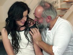 Old Fella Fucking Daniella Rose's Delightful Shaved Pussy