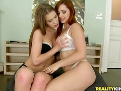 Beautiful redhead and blonde get rammed in a foursome