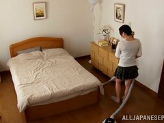 Japanese Wife Stops Vacuum Cleaning to Masturbate Her Pussy