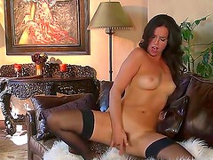 Black haired horny Kobe Lee with hot body in stockings and high heels only spreads