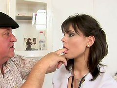 Old perve seduced sexy nurse so he eats her tasty cherry dry