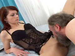 Nasty girl with small titties is giving deepthroat blowjob to horny grandpa