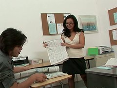Bonerific Asian teacher is sucking cock of her student