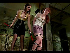 Tied up bitch gets electric toy shoved up her gash