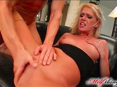 Blonde mom in sexy stockings fucked hard