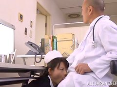 Eriko Miura Naughty Japanese Nurse Blowjobs a Doctor for Mouthful