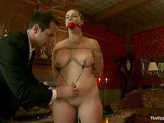 Busty Bella Rossi Tied Up and Covered in Cum after Cherry Torn Handjobs