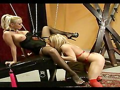 Horny lesbian bitches playing with toys