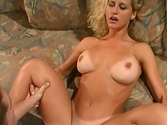 Cute busty blonde Ryan rides on the dick