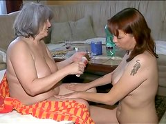 Nurse sucks sexy tits of granny babe