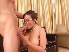 Ava Lauren throat fucks this hard throbbing cock