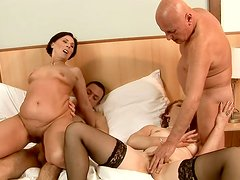 Mature sluts get fucked hard in hot group sex video