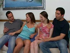 Experienced woman Katja involves Andrea into filthy group sex