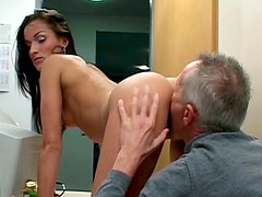 Whorish secretary Monica seduces one of the old workers to get pussy eaten