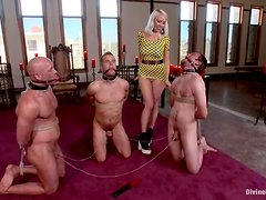Blond mistress Lorelei Lee gets to abuse three men at a time