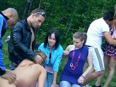 Wild outdoor orgy with horny Russian student chicks