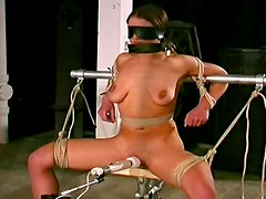 Chubby girl tied and toy fucked