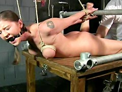Dildo machine fucking and hot bondage