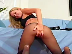 See her pussy through sexy pantyhose