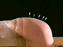 Light touch of kinky hot wax play