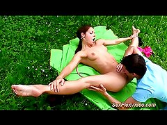 cute flexi contortionist fucking in nature