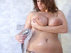 Bath night for plump young girl