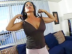 Blue-eyed brunette whore sucks dick & gets nailed