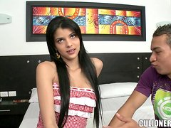 Luchy the slim Latina gives a handjob and rides big cock