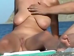 Hot blonde wife on beach