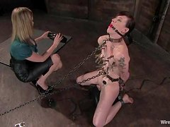 Sybian and Chains in Lesbian BDSM Session for Tattooed MILF