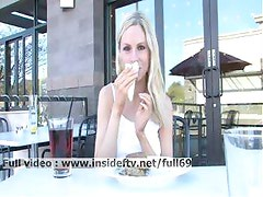 Lara _ Amateur blonde acting naughty and flashing her boobs in public