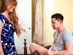 Ardent brunette mom rides young voracious dude in cowgirl style