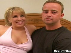 Busty blonde mom Adrienne sucks a cock and jumps on it insanely