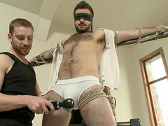 Bearded Josh Long gets tied up and toyed by men