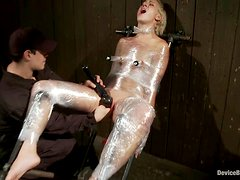Wrapped Dylan Ryan gets her vagina toyed by her master