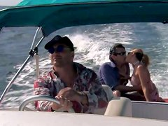 Chloe Delaure gets her holes smashed by two men on a boat