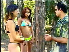 Two Gorgeous Amateur Babes In Bikinis Take A Fat Boner In The Woods