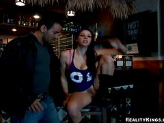 Busty Gianna Michaels Lays on the Bar's Counter to Get Fucked Hard