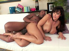 Lisa Ann the busty MILF gets fucked rough in interracial video