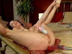 Nasty Veronica Avluv gets toyed by a machine and squirts