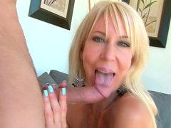 Insatiable blonde whore gives head and gets her muff fucked hard