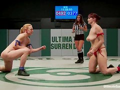 Four nasty girls sucks dildos and toy each other in a ring