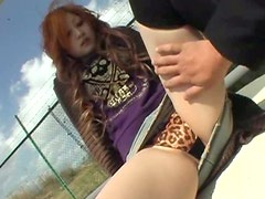 Ginger pale bodied Asian cutie gets her asshole finger fucked